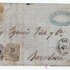Selos: CIRCULADO 1874 DE SABADELL A BARCELONA CON EDIFIL 145-DOS 141 ESCRITO ALTO VALOR CATALOGO . Lote 28455983