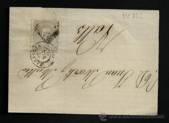 ENVUELTA 1872-73 AMADEO I ED 122 ZARAGOZA VALLS **************************************************** (Sellos - España - Amadeo I y Primera República (1.870 a 1.874) - Cartas)
