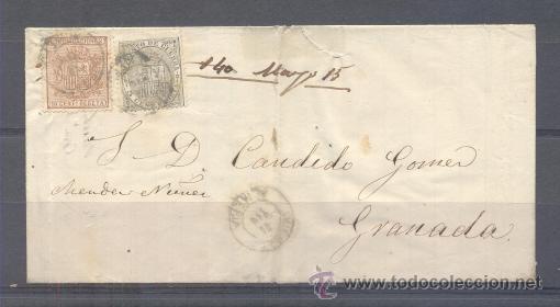 1874.- CUEVAS DE VERA (ALMERÍA) A GRANADA (Sellos - España - Amadeo I y Primera República (1.870 a 1.874) - Cartas)
