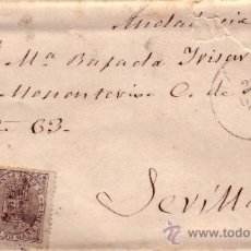 Sellos: EDIFIL Nº 141 Y 153 CARTA CIRCULADA - MADRID / SEVILLA - ESCUDO ESPAÑA - FRANQUEO MIXTO. Lote 34330887