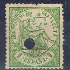 Sellos: ALEGORIA JUSTICIA TALADRADO TELEGRAFOS 1874 EDIFIL 150T VALOR 2012 CATALOGO 8.-- EUROS. Lote 121441191