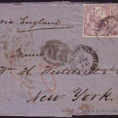 Sellos: ESPAÑA. (CAT. 148 (2)). 1875. CARTA DE MÁLAGA A NUEVA YORK. 40 CTS. MUY RARO DESTINO Y FRANQUEO.. Lote 24492662