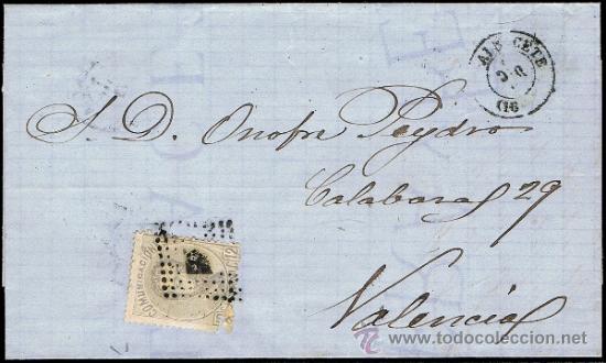 ALBACETE - EDI O 122 - CARTA CIRC. A VALENCIA - MAT. ROMBO PUNTOS - FECH T.II (Sellos - España - Amadeo I y Primera República (1.870 a 1.874) - Cartas)