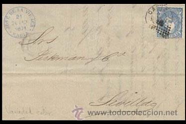 1871.- VARIEDAD DE COLOR AZUL CELESTE EN CARTA CON ROMBO Y FECHADOR DE CADIZ A SEVILLA. (Sellos - España - Amadeo I y Primera República (1.870 a 1.874) - Cartas)