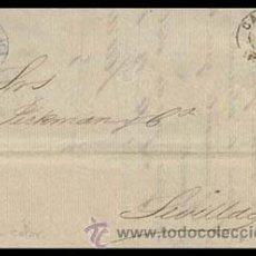 Sellos: 1871.- VARIEDAD DE COLOR AZUL CELESTE EN CARTA CON ROMBO Y FECHADOR DE CADIZ A SEVILLA.. Lote 38180308