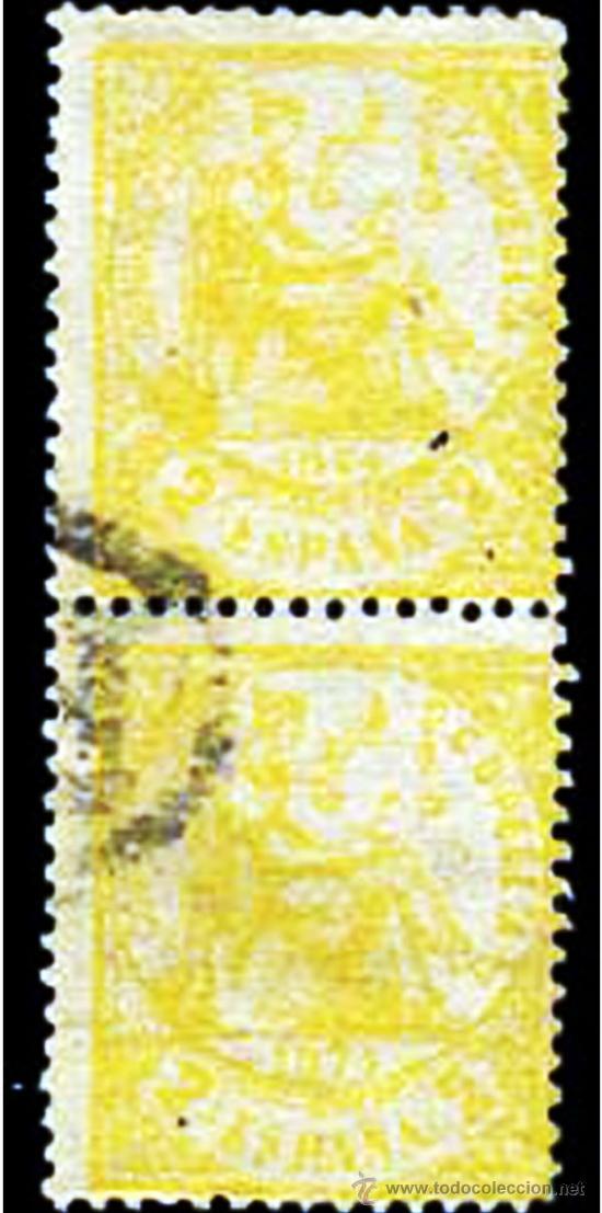 1874.- PAREJA VERTICAL DEL 2 CUARTOS AMARILLO CON MATASELLO P.D. FRANCÉS. EST. +130 € (Sellos - España - Amadeo I y Primera República (1.870 a 1.874) - Usados)