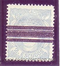 112- EFIGIE ALEG. 2 E. AZUL 1870. BARRADO. CAT.- 810 €. (Sellos - España - Amadeo I y Primera República (1.870 a 1.874) - Usados)