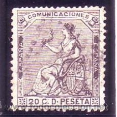 Sellos: ESPAÑA 134 - ALEGORIA ESPAÑA. 20 CENTS NEGRO GRIS 1873. USADO LUJO. CAT. 55 €.. Lote 38755867