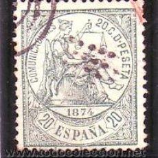 Sellos: ESPAÑA 146 - ALEGORIA JUSTICIA. 20 CENTS VERDE 1874. USADO PRECIOSO. CAT.85€.. Lote 38755951
