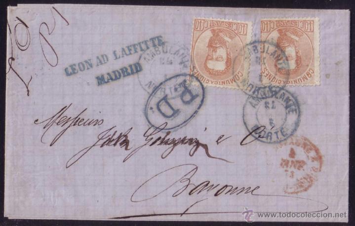 ESPAÑA.(CAT.125(2)).1873. CTA. D MADRID A FRANCIA. DOS SELLOS 40C.AMADEO.MAT. AMBULANTE FERROCARRIL (Sellos - España - Amadeo I y Primera República (1.870 a 1.874) - Cartas)
