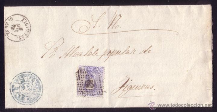 ESPAÑA.(CAT.121).1873.CARTA DE VILAMALLA (GERONA) A FIGUERAS.10 C.MARCA DE CARTERIA INÉDITA.RARÍSIMA (Sellos - España - Amadeo I y Primera República (1.870 a 1.874) - Cartas)