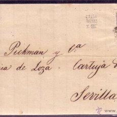 Sellos: ESPAÑA. (CAT.107/GRAUS 139-VII). 1871. CARTA DE ZARAGOZA A SEVILLA.50 MLS. FALSO POSTAL TIPO VII.. Lote 24352580