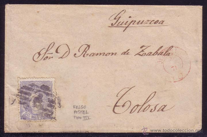 ESPAÑA.(CAT.107/139-III).1871.SOBRE D MADRID A TOLOSA.50 M. FALSO POSTAL TIPO III.RARÍSIMO EN CARTA. (Sellos - España - Amadeo I y Primera República (1.870 a 1.874) - Cartas)