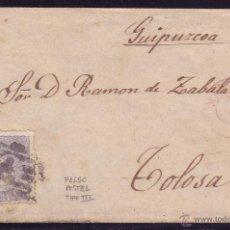 Sellos: ESPAÑA.(CAT.107/139-III).1871.SOBRE D MADRID A TOLOSA.50 M. FALSO POSTAL TIPO III.RARÍSIMO EN CARTA.. Lote 24891487