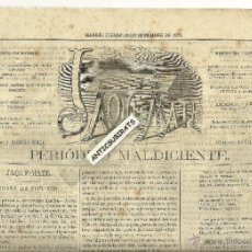 Sellos: TIMBROLOGIA TIMBRES PERIODICOS AÑO1872 3 PESETAS 10 KILOS MADRID SELLO SOBRE PERIODICO JAQUEMATE. Lote 40072529