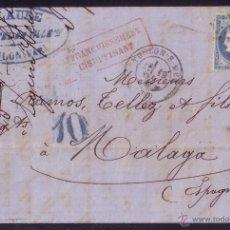 Sellos: FRANCIA.(CAT.60-I).1871.CARTA DE TOULON A MÁLAGA.25 C.FRANQUEO INSUFICIENTE Y TASA ESPAÑOLA *10* CTS. Lote 27065073