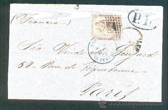 1874.- VALENCIA A PARIS (FRANCIA) (Sellos - España - Amadeo I y Primera República (1.870 a 1.874) - Cartas)