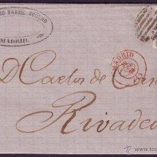 Sellos: ESPAÑA. (CAT. 107). 1870. CARTA DE MADRID A RIVADEO. 50 MLS. MAT. PARRILLA. FECHADOR ROJO MADRID.RR.. Lote 38446557