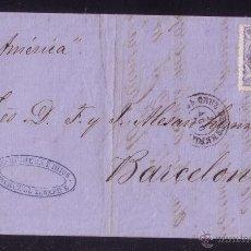 Sellos: ESPAÑA.(CAT.107).1870.CARTA D TENERIFE (CANARIAS)/BARCELONA.50M. MNS. *P.AMÉRICA* DEL BARCO.RARÍSIMA. Lote 26609295