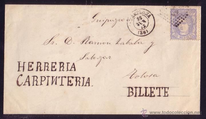 ESPAÑA. (CAT.107).1872.SOBRE CON PUBLICIDAD MANUSCRITA DE PAMPLONA A TOLOSA. RARÍSIMO EN ESTA ÉPOCA. (Sellos - España - Amadeo I y Primera República (1.870 a 1.874) - Cartas)