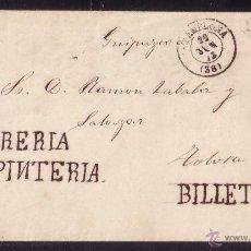 Sellos: ESPAÑA. (CAT.107).1872.SOBRE CON PUBLICIDAD MANUSCRITA DE PAMPLONA A TOLOSA. RARÍSIMO EN ESTA ÉPOCA.. Lote 26700752