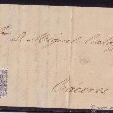 Briefmarken - ESPAÑA.(Cat. 107).1871.CARTA DE BADAJOZ A CÁCERES.50 Mls.FECHADOR VARIEDAD.MAGNÍFICA. - 24654515