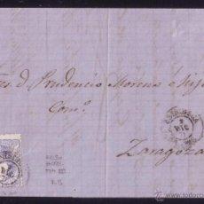 Sellos: ESPAÑA.(CAT.107/GRAUS 139-VII).1871.CARTA DE BRIBIESCA (BURGOS) A ZARAGOZA.FALSO POSTAL TIPO VII.RR. Lote 26060080