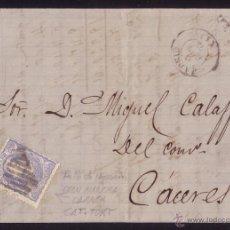 Sellos: ESPAÑA. (CAT. 107). 1871. CARTA DE MADRID A CÁCERES. 50 MLS. VARIEDAD GRAN MANCHA BLANCA. RARA.. Lote 24631475