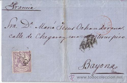 CARTA ENTERA DE MALAGA A BAYONA CON 40 CTS. VIOLETA. 1875. DORSO: ESTAFETA DE CAMBIO. (Sellos - España - Amadeo I y Primera República (1.870 a 1.874) - Cartas)
