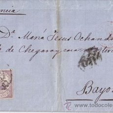 Sellos: CARTA ENTERA DE MALAGA A BAYONA CON 40 CTS. VIOLETA. 1875. DORSO: ESTAFETA DE CAMBIO.. Lote 40603274
