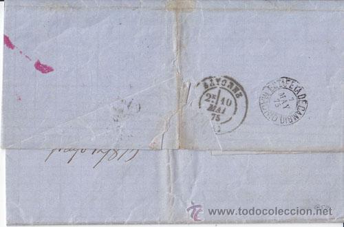Sellos: CARTA ENTERA DE MALAGA A BAYONA CON 40 CTS. VIOLETA. 1875. DORSO: ESTAFETA DE CAMBIO. - Foto 2 - 40603274