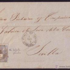Sellos: ESPAÑA. (CAT. 107).1872. CARTA DE PUEBLA DEL CARAMIÑAL (CORUÑA). 50 MLS. VARIEDAD. MAGNÍFICA Y RARA.. Lote 25704848
