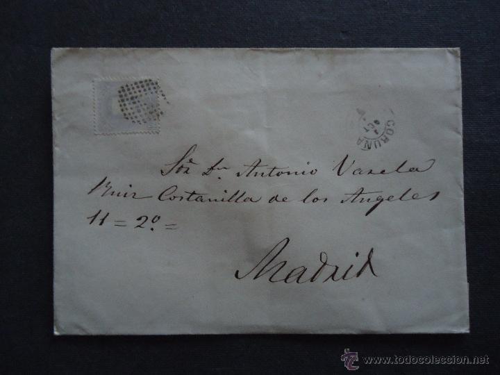 FILATELIA GALICIA. CARTA. SELLO DE 12 CTS. AMADEO I. CORUÑA MADRID. MATASELLO ROMBO (Sellos - España - Amadeo I y Primera República (1.870 a 1.874) - Cartas)