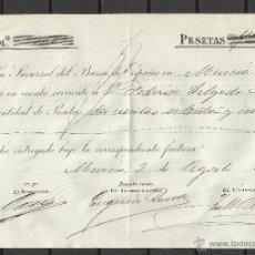 Sellos: A128- DOCUMENTO CON SELLO FISCAL AÑO 1898 MURCIA BANCO DE ESPAÑA FEDERICO DELGADO MORALES,SPAIN. Lote 41572719