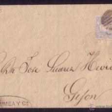 Sellos: ESPAÑA.(CAT.107).1871.CARTA DE LONDRES A MADRID/GIJÓN.50 MLS.RARÍSIMO ORIGEN EN INGLATERRA.ÚNICA.. Lote 24064376