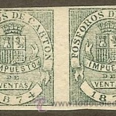 Sellos: FÓSFOROS DE CARTÓN. IMPUESTO DE VENTAS. 1874 FORMANDO PAREJA. Lote 44984405