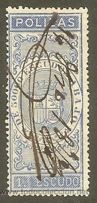 FISCALES - PÓLIZAS DE BOLSA. 1870. 1 ESCUDO ULTRAMAR (Sellos - España - Amadeo I y Primera República (1.870 a 1.874) - Usados)