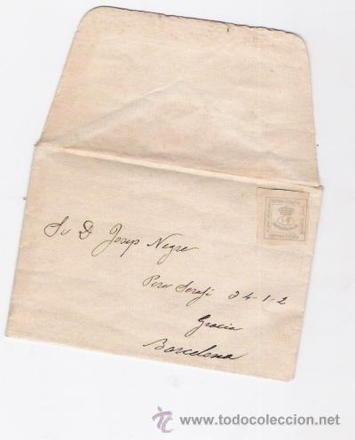 SOBRE CON SELLO UN CUARTO DE PESETA DE 1872 (Sellos - España - Amadeo I y Primera República (1.870 a 1.874) - Cartas)