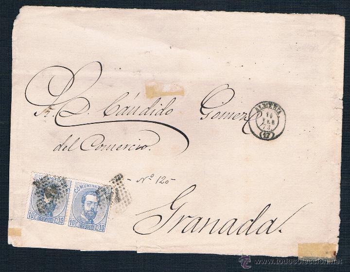 1873 ALMERIA A GRANADA (Sellos - España - Amadeo I y Primera República (1.870 a 1.874) - Cartas)