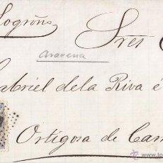 Sellos: FRONTAL CON ALGO DE PAPEL AL DORSO. ARACENA HUELVA. 1872. MATRONA. FECHADOR.. Lote 46892410