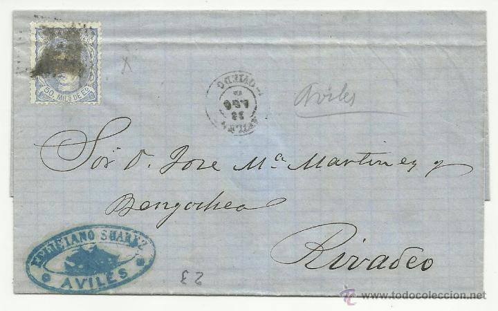 CIRCULADA 1872 DE AVILES OVIEDO A RIVADEO LUGO CON MATASELLO LLEGADA AL DORSO (Sellos - España - Amadeo I y Primera República (1.870 a 1.874) - Cartas)