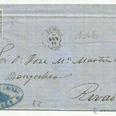 Sellos: CIRCULADA 1872 DE AVILES OVIEDO A RIVADEO LUGO CON MATASELLO LLEGADA AL DORSO. Lote 47455220
