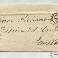 Sellos: ENVUELTA CIRCULADA Y ESCRITA 1872 DE JEREZ CADIZ A SEVILLA CON MATASELLO ROMBO DE PUNTOS. Lote 47455459