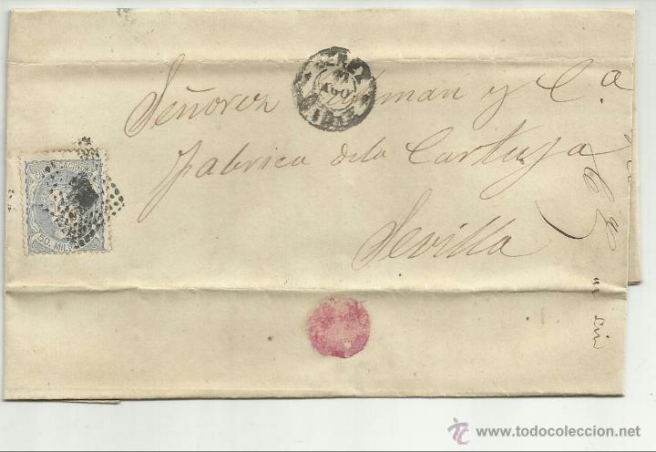 ENVUELTA CIRCULADA Y ESCRITA 1872 DE JEREZ CADIZ A SEVILLA CON MATASELLO ROMBO DE PUNTOS (Sellos - España - Amadeo I y Primera República (1.870 a 1.874) - Cartas)