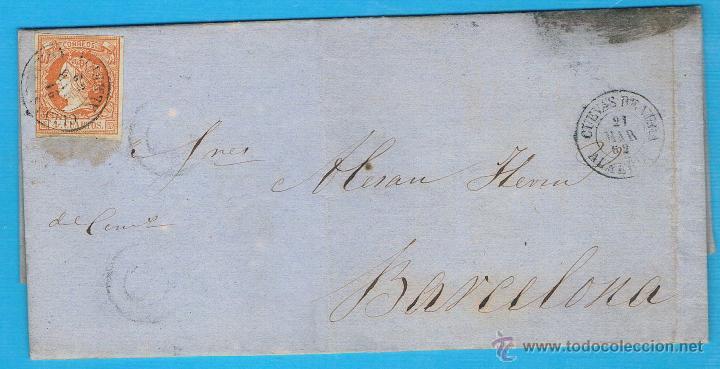 1862 CUEVAS DE VERA (ALMERIA) A BARCELONA (Sellos - España - Amadeo I y Primera República (1.870 a 1.874) - Cartas)