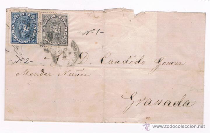 1874 CUEVAS DE VERA (ALMERIA) A GRANADA (Sellos - España - Amadeo I y Primera República (1.870 a 1.874) - Cartas)