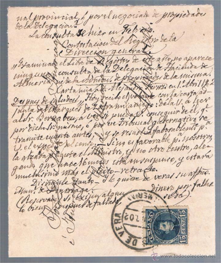 CUEVAS DE VERA (ALMERIA) A ALMERIA (Sellos - España - Amadeo I y Primera República (1.870 a 1.874) - Cartas)