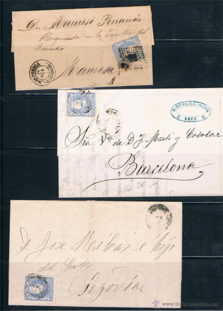 ESPAÑA. 3 CARTAS CON SELLOS DE 50 CTS GOBIERNO PROVISIONAL (Sellos - España - Amadeo I y Primera República (1.870 a 1.874) - Cartas)