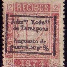 Sellos: ESPAÑA. (CAT. GÁLVEZ 33-TIPO I). * 12 CTS. FISCAL DE RECIBOS. IMPUESTO DE GUERRA DE TARRAGONA. RR.. Lote 48871452