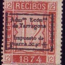 Sellos: ESPAÑA. (CAT. GÁLVEZ 33A-TIPO II). * 12 CTS. FISCAL RECIBOS. IMPUESTO DE GUERRA DE TARRAGONA. RR.. Lote 48871827